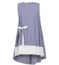 Синее платье в клетку с кружевом RINASCIMENTO 15859