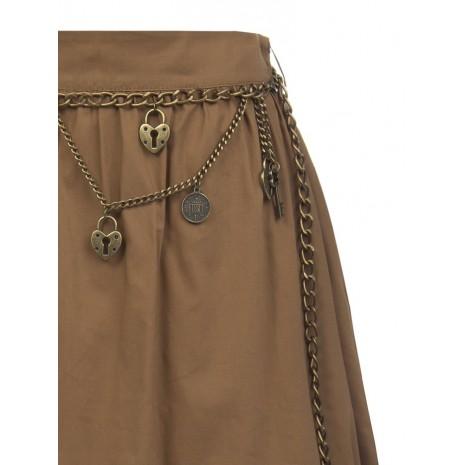 Коричневая юбка с оборкой удлиненная сзади RINASCIMENTO 87325