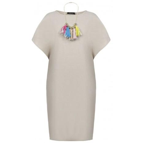 Бежевое прямое платье с декором RINASCIMENTO 87393