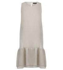 Бежевое прямое платье с оборки RINASCIMENTO 87394