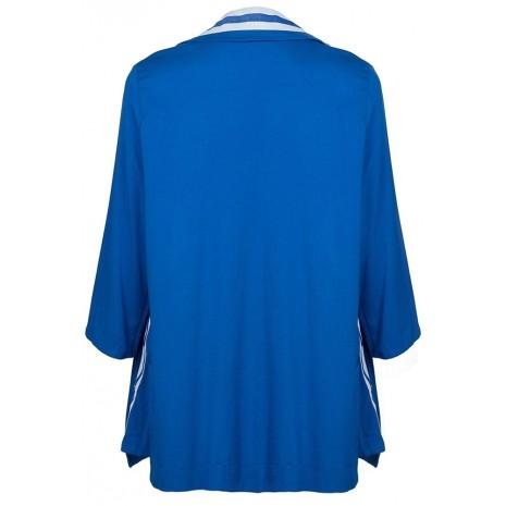 Синий прямой пиджак с контрастными вставками RINASCIMENTO 86797