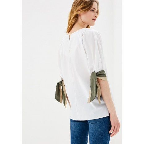 Белая блуза с декором на рукавах RINASCIMENTO 85993