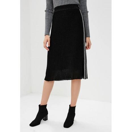 Черная плиссированная юбка с контрастной вставкой RINASCIMENTO 8785