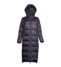 Черное стеганное пальто с капюшоном RINASCIMENTO 86275