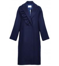 Синее пальто с оборкой RINASCIMENTO 87633