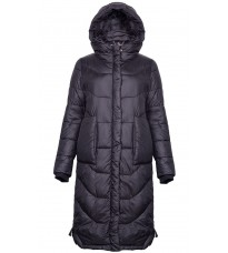 Удлиненная черная куртка с капюшоном RINASCIMENTO 86274