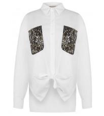 Белая блуза с пайетками RINASCIMENTO 88204