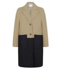 Бежевое двухцветное пальто RINASCIMENTO 88405