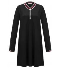 Черное прямое платье с контрастными вставками RINASCIMENTO 88456