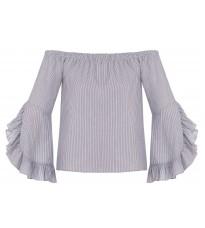 Голубая блуза в полоску с оборками RINASCIMENTO 85933