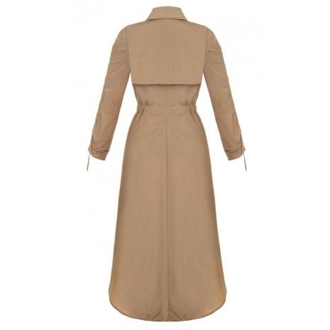 Бежевое удлиненное сзади пальто RINASCIMENTO 86116