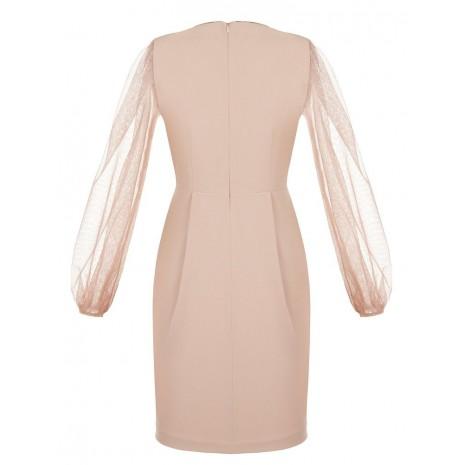 Розовое платье с прозрачными рукавами RINASCIMENTO 86207