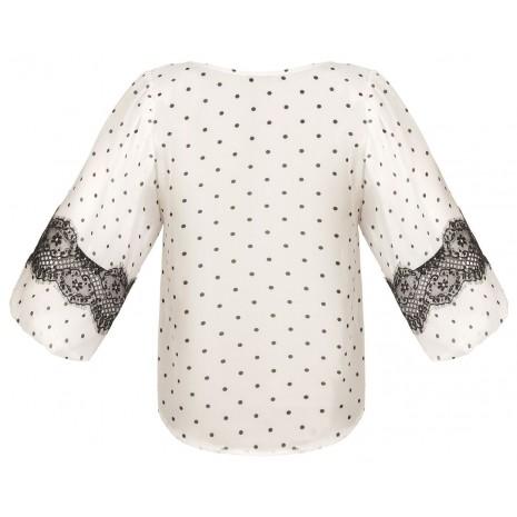 Белая блуза в горошек с кружевом RINASCIMENTO 86234