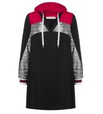 Черное платье с пайетками и капюшоном RINASCIMENTO 88280