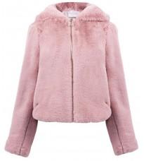 Розовое меховое пальто с капюшоном RINASCIMENTO 88314