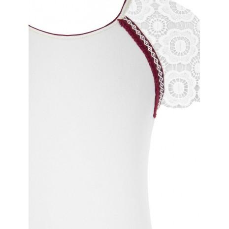 Белый джемпер с кружевом RINASCIMENTO 8580