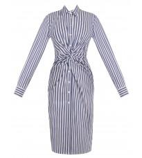 Голубая удлиненная блуза в полоску с декором на талии RINASCIMENTO 85936