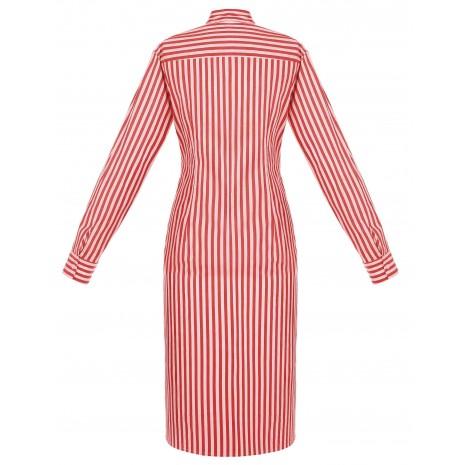 Красная удлиненная блуза в полоску с декором на талии RINASCIMENTO 85936