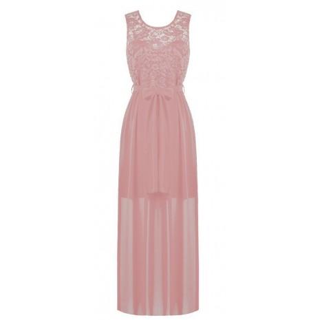 Длинное розовое платье с кружевом RINASCIMENTO 86623
