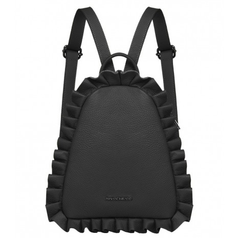 Кожаный черный рюкзак с оборками RINASCIMENTO 11101
