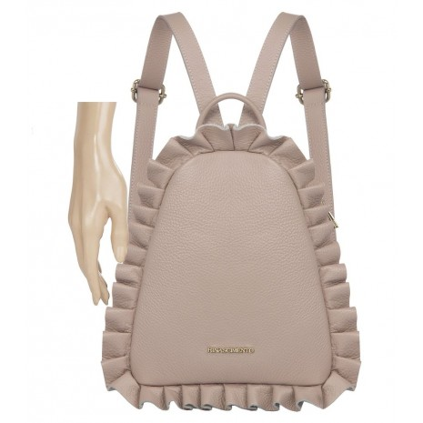 Кожаный розовый рюкзак с оборками RINASCIMENTO 11101