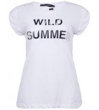 Белая футболка с декором RINASCIMENTO 87376