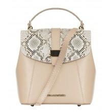 Кожаная бежевая сумка-рюкзак с декором RINASCIMENTO 11858