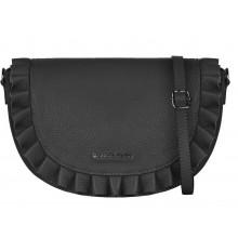 Черная кожаная сумка с оборкой RINASCIMENTO 11875