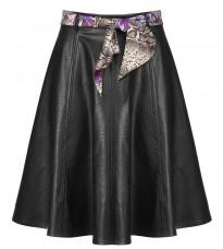 Черная кожаная юбка с поясом RINASCIMENTO 91046