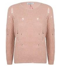 Розовый джемпер с декоративными дырками RINASCIMENTO 9033