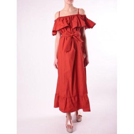 Длинное оранжевое платье с открытыми плечами RINASCIMENTO 15787