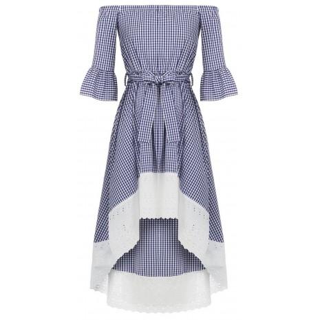 Синее платье в клетку RINASCIMENTO 15858