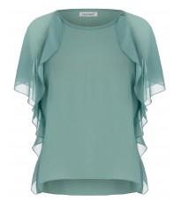 Блуза с оборками зеленого цвета RINASCIMENTO 80886